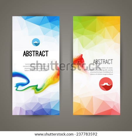 Set of polygonal triangular colorful geometric banners with colorful waves for innovate modern design  - stock vector