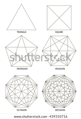 Set of polyhedrons, illustration on white background, vector - stock vector