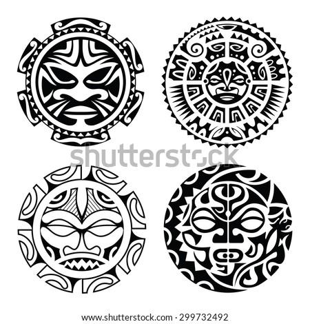 Set of polynesian tattoo styled masks. Vector illustration. - stock vector