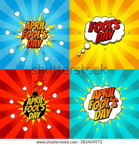 Set of pop art comic april fool's day illustrations. Vector illustration. Decorative set of backgrounds for april fool's day with bomb explosive. - stock vector