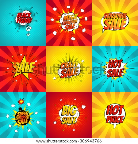 Set of pop art comic sale discount promotion vector illustration. Decorative set of backgrounds with bomb explosive. - stock vector