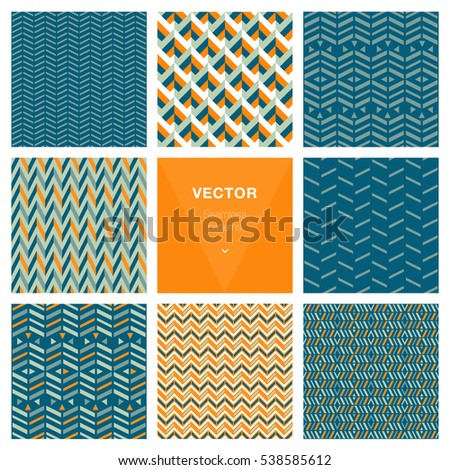 Set of 8 popular geometric patterns.