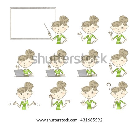 Set of poses and emotions, women wearing casual clothes - stock vector
