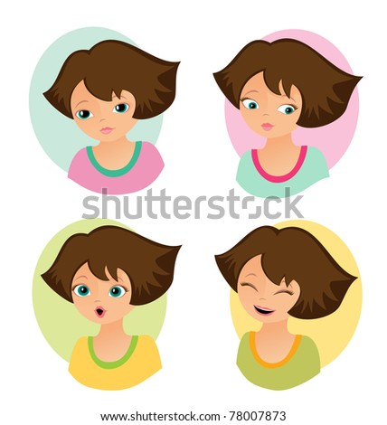 Set of positive emotions - stock vector