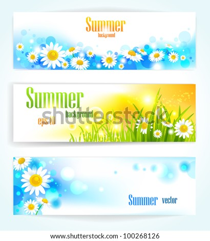 Set of positive floral banners with space for text - stock vector