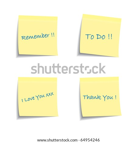 Set of post it notes with common phrases - stock vector