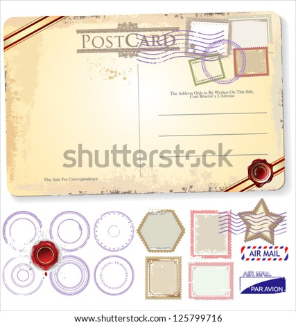 Set Of Postage Elements - stock vector