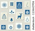 Set of postal stamps with Christmas decoration symbols. Vector illustration. - stock vector