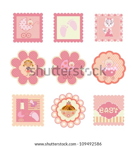set of postcards, stickers for girls - stock vector