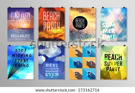 Set of poster, flyer, brochure design templates. Elements for Summer Holidays with colorful background. Calligraphic designs and ornaments  - stock vector