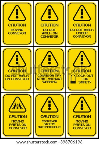 Set of posters on the theme of conveyors. Caution. Poster characterize dangerous working conditions for workers and employees.