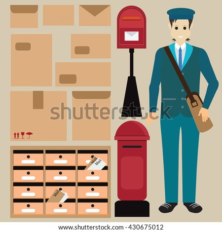 Set of postman with letter box ,Letter symbols and pictogram,parcel letter and Locker post box, vector illustration. - stock vector
