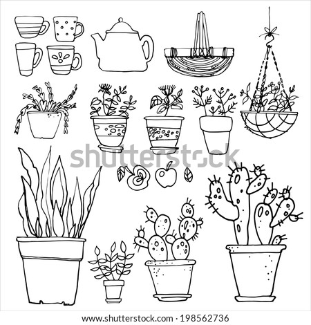 Set of potted flowers, garden furniture vector sketch black line - stock vector