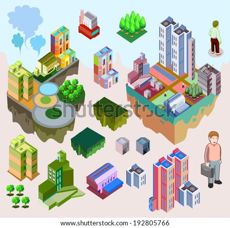 set of pre assembly city vector isometric. custom game and map elements  - stock vector