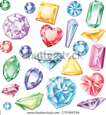Set of precious stones of different cuts and colors - stock vector