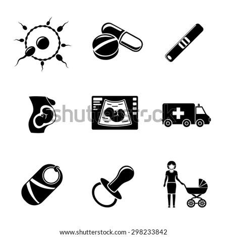Set of PREGNANCY icons with - egg and sperm, pills, test, womb, ultrasound, ambulance car, child, nipple, mother. Vector - stock vector