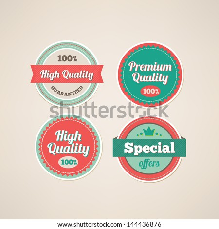 Set of Premium and High Quality labels - stock vector