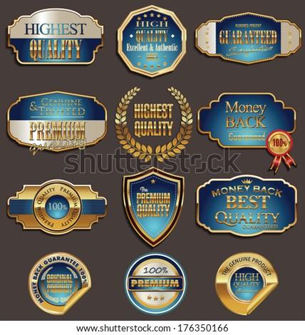 Set of premium golden labels  - stock vector