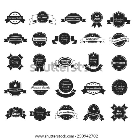 set of premium guaranteed quality and best choice black and white retro vintage labels - stock vector