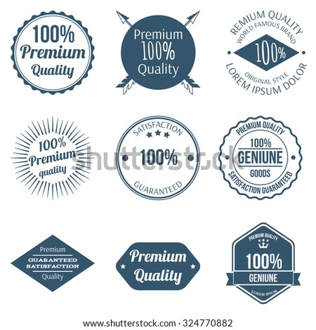 Set of Premium Quality Badges and Labels Design Vector Illustration - stock vector