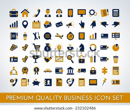 Set of premium quality business vector icons (blue and orange)