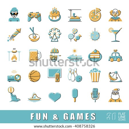 Set of premium quality flat line fun and games icons. Collection of vector icons for games, fun, leisure, sport, hobby, free time. Infographic design elements collection. Web graphics.