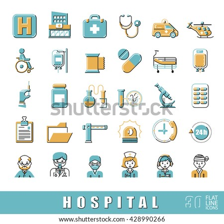 Set of premium quality flat line icons related to medicine, hospital, emergency. Collection of medical icons. Vector illustration.