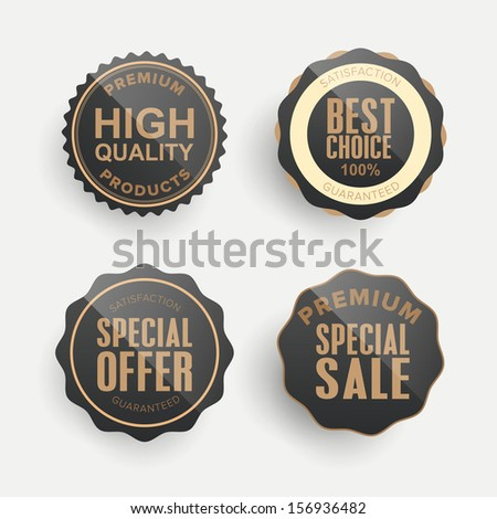 Set of premium & quality glossy labels, signs and emblems. - stock vector