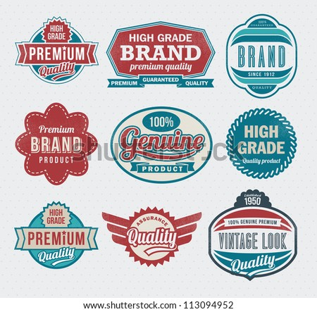 Set of premium quality guarantee labels and badges - retro design - stock vector