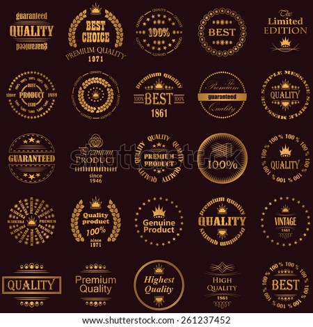 Set of premium quality labels in a gold. Retro Vintage Style