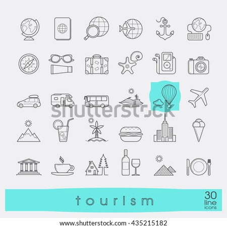 Set of premium quality line tourism icons. Collection of  vector icons for travel, tourism, leisure, holiday, vacation, booking. Info graphics elements collection. Web graphics.