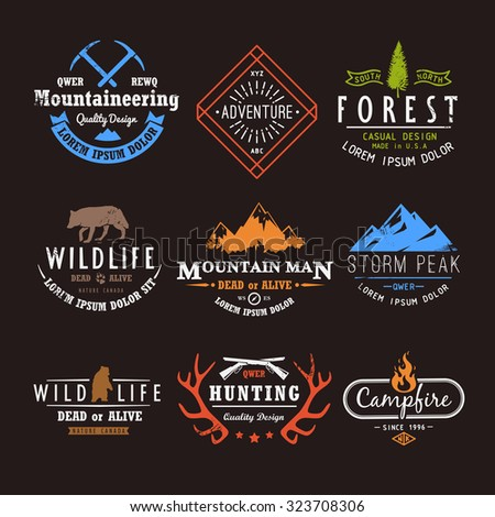 Set of premium vector labels on the themes of wildlife, nature, hunting, travel, wild nature, climbing, life in the mountains, survival. Retro, vintage, casual design. #1 - stock vector