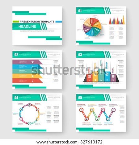 Set of presentation slide templates powerpoint and business vector brochures - stock vector
