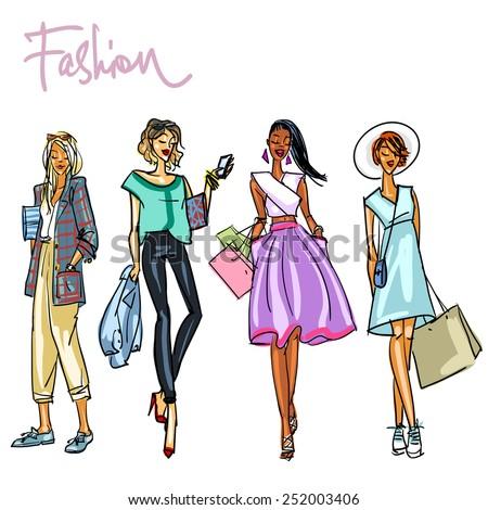 Set of pretty stylish women. - stock vector