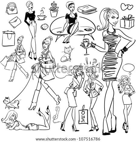Set of pretty women, hand drawn sketch, fashion, beauty. - stock vector