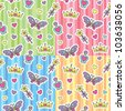 set of princess seamless patterns with cartoon elements - stock vector