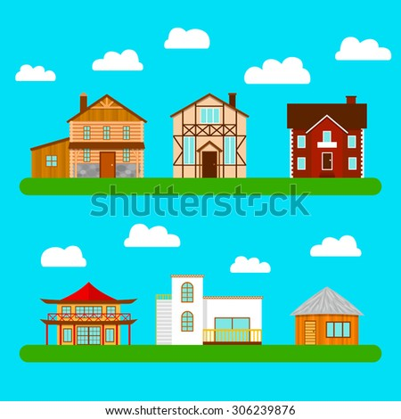 Set of private houses. The architectural style of the different countries. Vector illustration. - stock vector