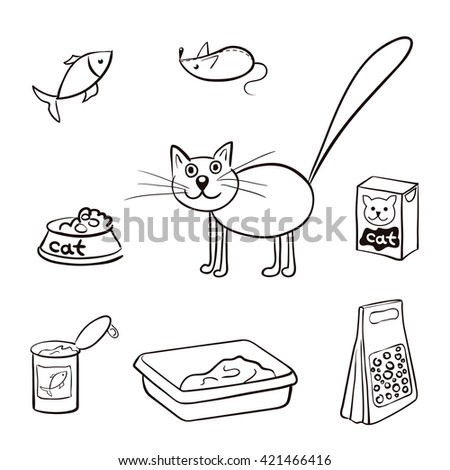 Set of products for cats. Vector illustration. - stock vector