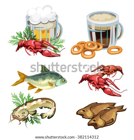 Set of products for consumption of beer and kvass. Dried river fish and crayfish. Vector illustration.