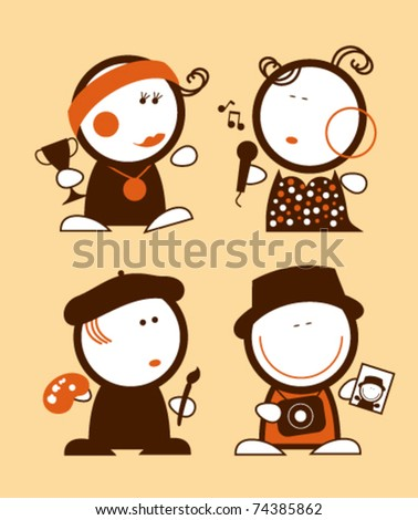 Set of profession funny peoples icons. - stock vector