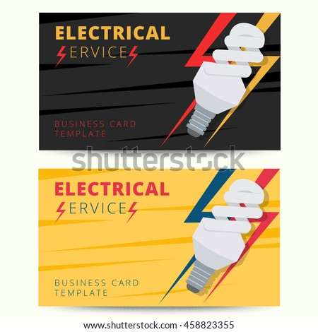 Set Of Professional Electrician Business Card Template Vector Electrical Services Engineer Background Design For Poster