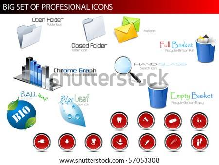 Set of professional icons. Vector illustration. - stock vector