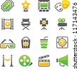 Set of 16 professional movie theater icons for web applications,web presentation and more. - stock vector