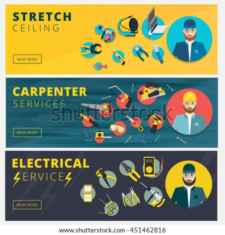 Set Of Professional Repair Worker Banners Stretch Ceiling Carpenter And Electrician Service Vector Background