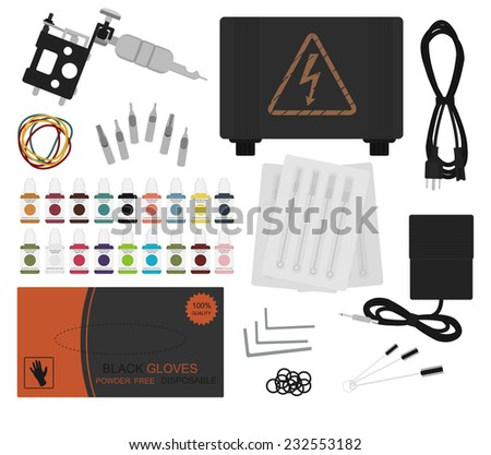 Set of professional tattoo equipment: tattoo machine, power supply, cord, rubber bands, different type grips, needles, footswitch, pack of black gloves, grommet. Color no outline illustration  - stock vector