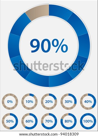 set of progress indicator circles - stock vector