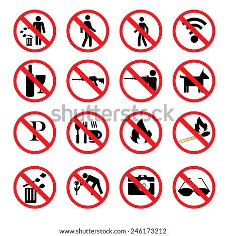 set of prohibit sign.vector illustrator