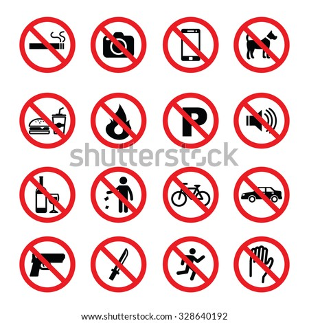 set of prohibition sign, vector symbols - stock vector