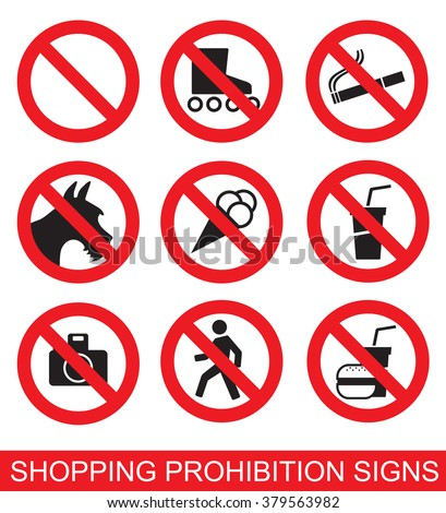 Set of prohibition signs suitable for shopping malls, cinemas, etc.