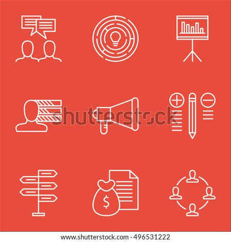 Set Of Project Management Icons On Announcement, Report, Discussion And More. Includes Discussion, Decision Making, Announcement And Other Vector Icons.